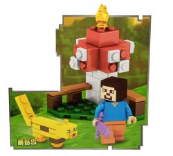Mini Set com Stevie e Jaguatirica / Ocelot (Minecraft My World ) - Minifigura de Montar MMW (53+pçs)