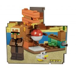 Mini Set com Aldeão / Villager e Baby Chicken (Minecraft My World ) - Minifigura de Montar MMW (38+pçs)